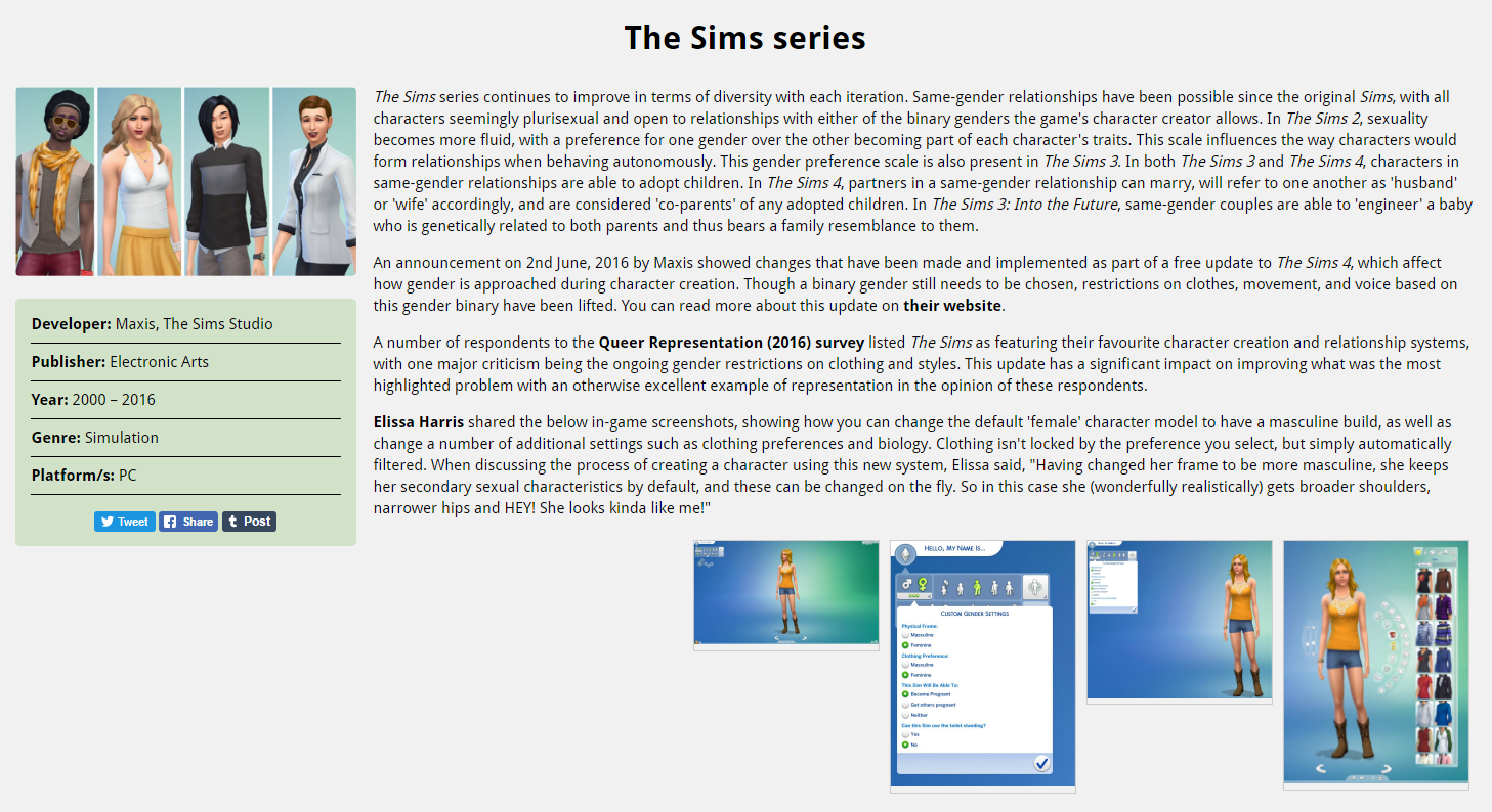 Database entry example (The Sims)