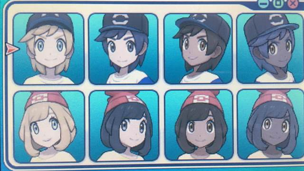 Pokemon appearance selection screen. Eight faces with different hairstyles and hats.