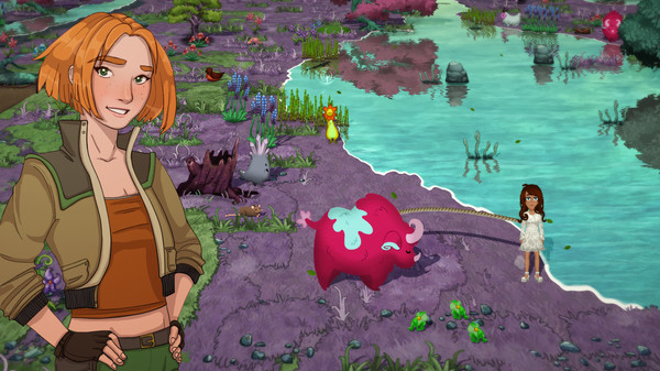 Two femme looking people standing near a pond with plants and grasses. One is further away, holding onto a rhino-like creature.