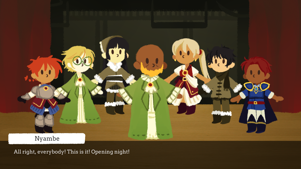A cast of seven actors stands on a stage. A dialogue box at the bottom says 'All right, everybody! This is it! Opening night!'