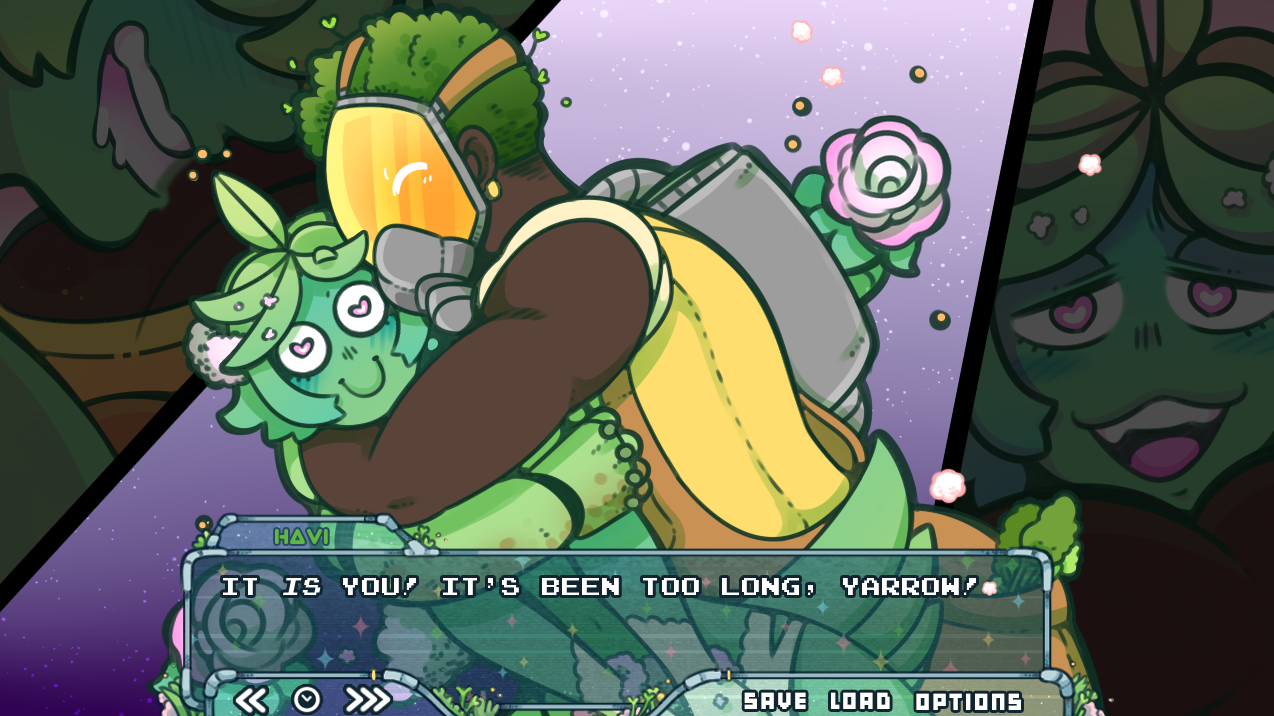 A green humanoid alien is embraced by a dark masculine figure. A dialogue box below them shows 'Havi' saying 'It is you! It's been too long, Yarrow!'