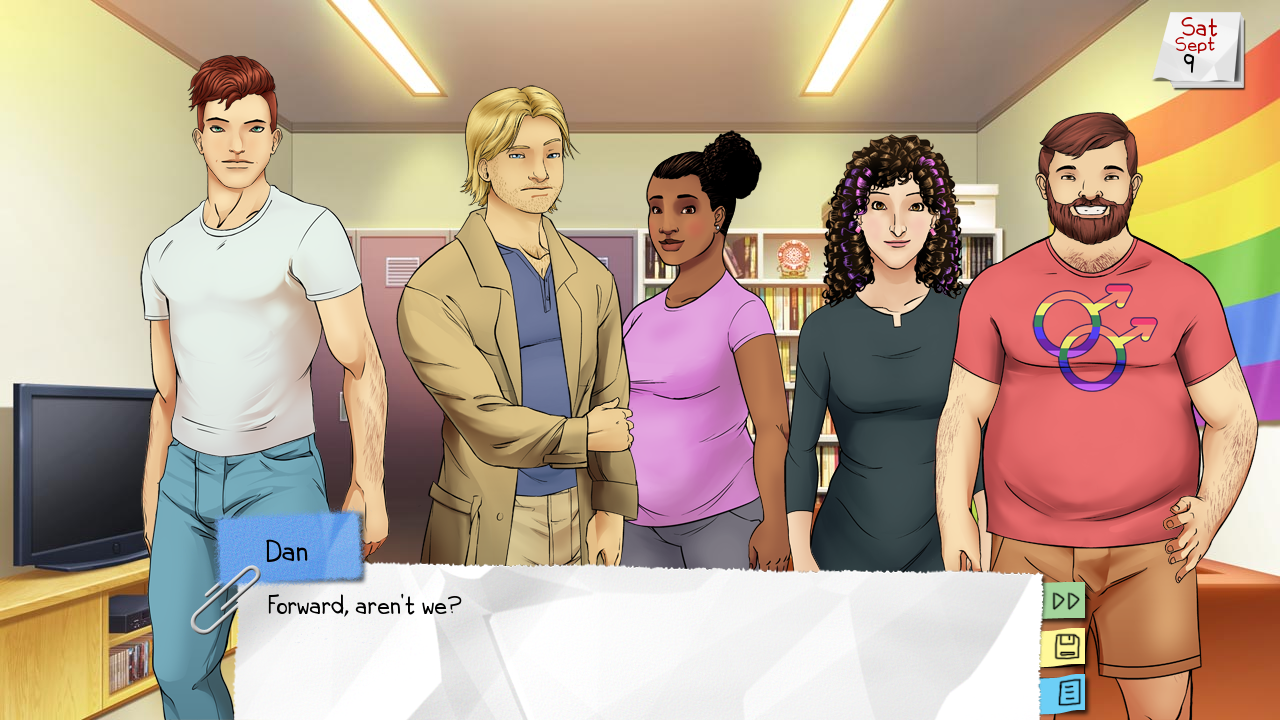 Five figures, three masculine and two feminine with varying body types, face the camera. The room has a rainbow on the wall. A dialogue box at the bottom of the screen shows someone called 'Dan' saying 'Forward, aren't we?'