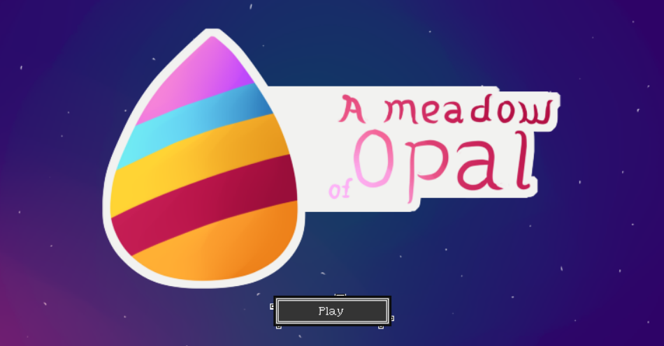 Title screen featuring a tear drop shape with coloured stripes, over a starry night sky.