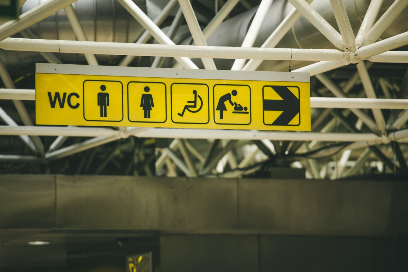 A set of signs in a venue indicating toilets and accessible toilets.