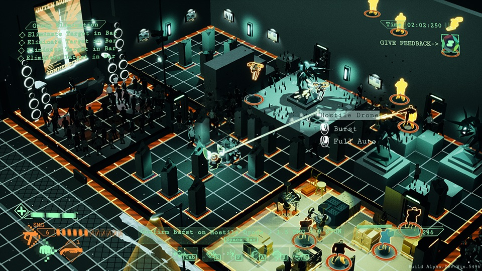 Isometric view of a nightclub with a grid on the floor. Several rooms depicted, including one full of crates and one with speakers and a dancing crowd. Player is preparing to shoot an NPC, and the user interface says 'Hostile Drone. Burst. Full auto'.