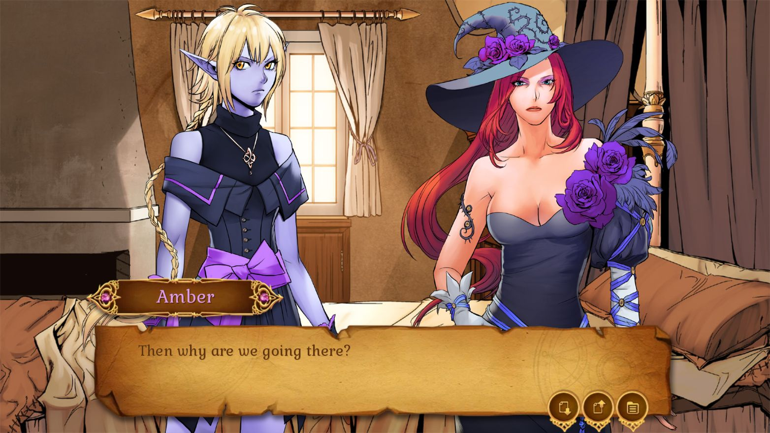 Two feminine characters stand in a bedroom. One is wearing a witch's hat and has a dressed adorned with roses, while the other has pointed ears. A dialogue box overlay says, 'Amber: Then why are we going there?'