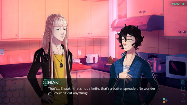 Two gender ambiguous characters are chatting in a kitchen with a dialogue box overlay that says, 'Chiaki: That's... Shuuki, that's not a knife, that's a butter spreader. No wonder you couldn't cut anything!'