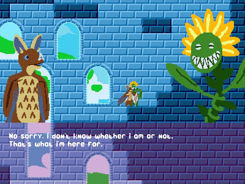 A squirrel like creature with rabbit ears and a pointed nose, and a sunflower with a face stand against a brick background. Dialogue reads 'No sorry, I don't know whether I am or not. That's what I'm here for.'.