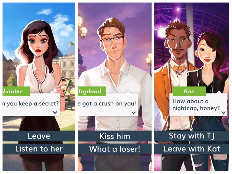 Three panels are side by side. The first includes a feminine figure with the words 'can you keep a secret', and options of choosing 'leave' or 'listen to her'. The second panel includes a masculine figure saying 'got a crush on you', with the options to choose replies of 'kiss him' or 'what a loser!'. The third panel includes a masculine and a feminine character, with the character Kat asking 'How about a nightcap, honey?' and the options to choose 'Stay with TJ' or 'leave with Kat' in reply.