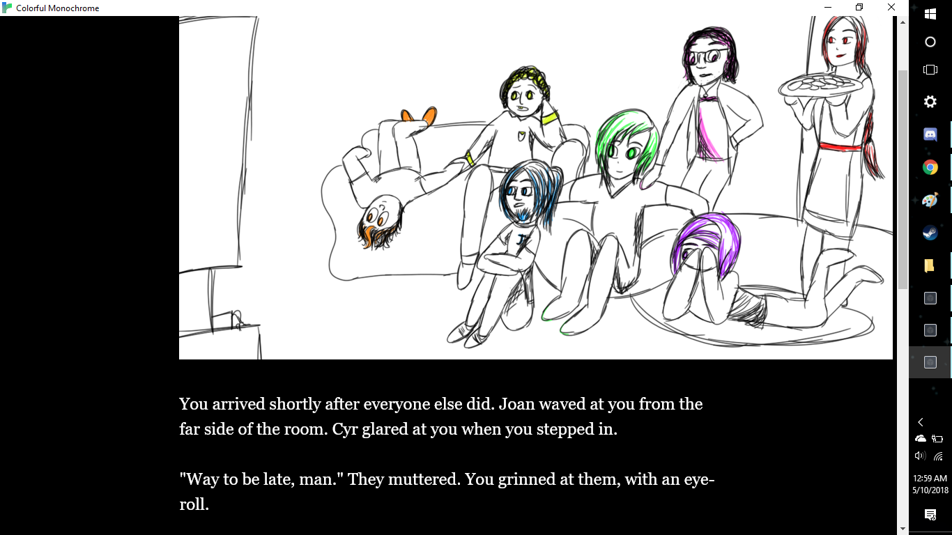 Seven figures sit together in a living room, with one holding a tray of food. Beneath them, text reads, 'You arrived shortly after everyone else did. Joan waved at you from the far side of the room. Cyr glared at you when you stepped in. 'Way to be late, man,' they muttered. You grinned at them, with an eye-roll.'