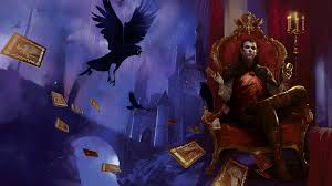 A masculine figure sits on a throne surrounded by cards and a raven.
