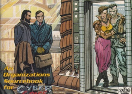 Two masculine figures in suits stand outside, looking through a doorway at two gender ambiguous figures.