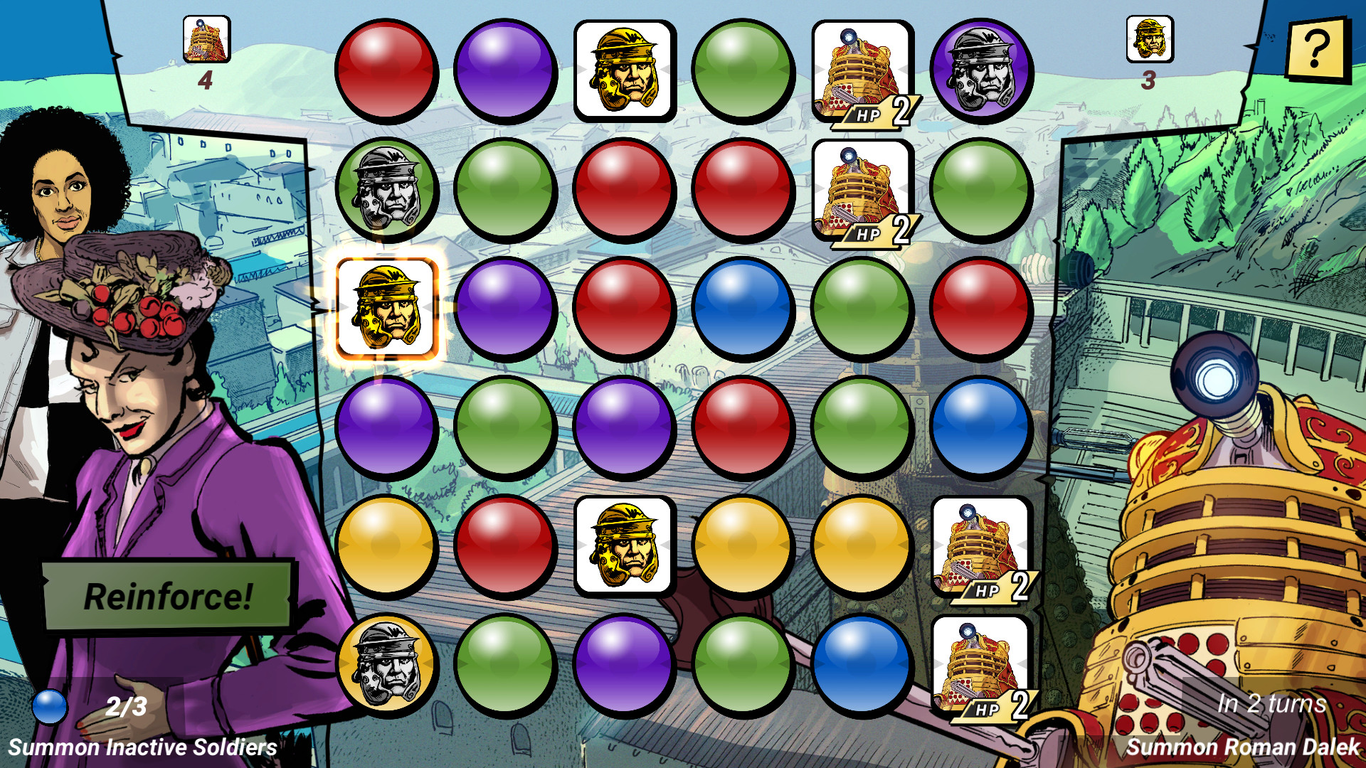 Several coloured circles and icons with characters from Doctor Who are in the centre of the screen. Missy and Bill are on the left of the screen, while a Dalek is on the right.