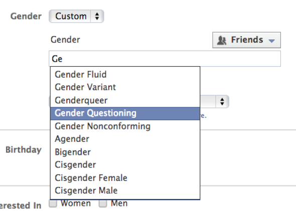 Facebook gender select screen.