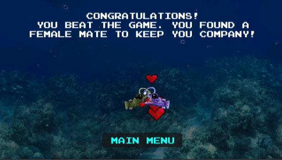 Two fish are kissing. Text above says 'Congratulaions! You beat the game. You found a female mate to keep you company!'