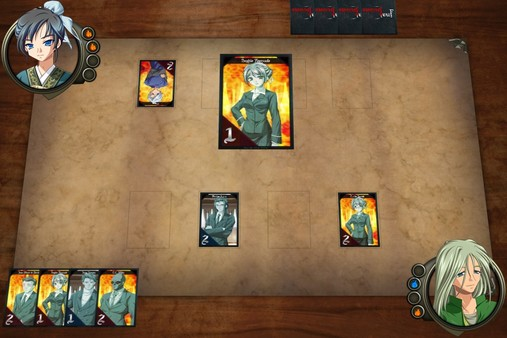 A trading card game playing mat has one large card in the centre, one to its left, and two below it. There are four cards in the player's hand and four hidden in the opponent's hand. The masculine player-character and feminine opponent have portraits in the corners of the screen.