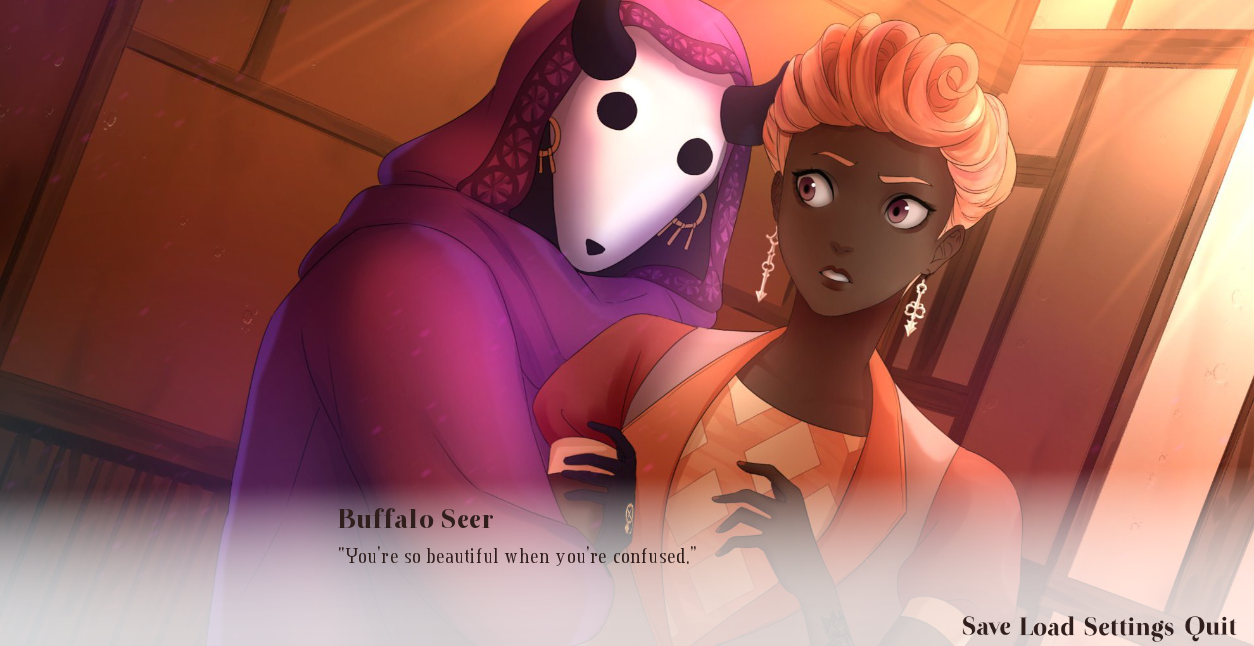 Gender ambiguous character wearing a horned mask is holding a femme character. The masked character is referred to as the 'Buffalo Seer' and is saying, 'You're so beautiful when you're confused.' The screen features game settings.