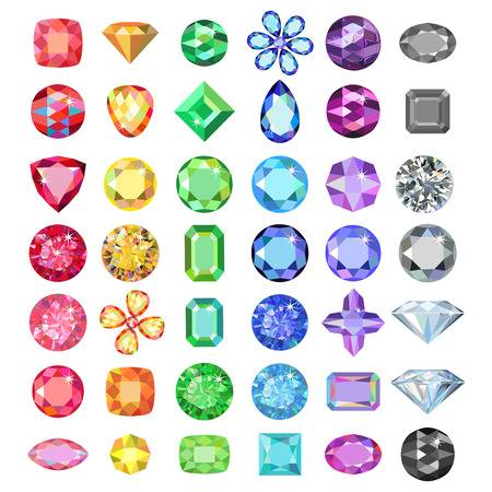 Collection of rainbow coloured gemstones