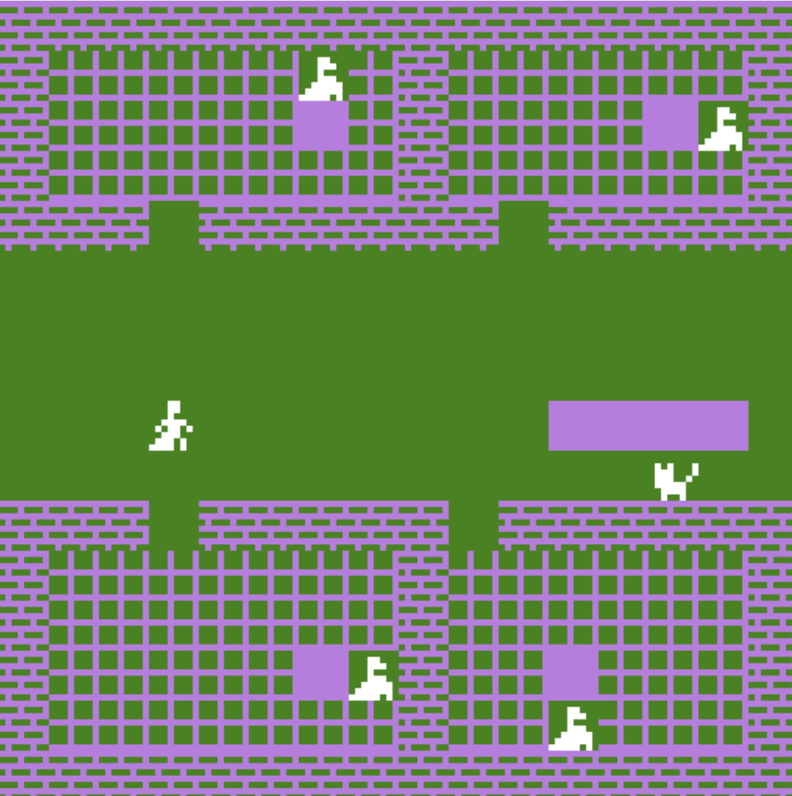 A figure walks down a corridor. Several other figures stand in other rooms, and a cat is ahead.