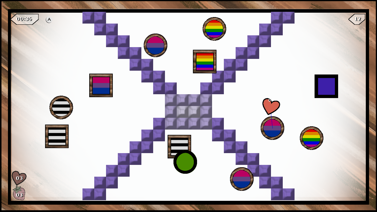 Circles and squares with pride flag designs are on a board.