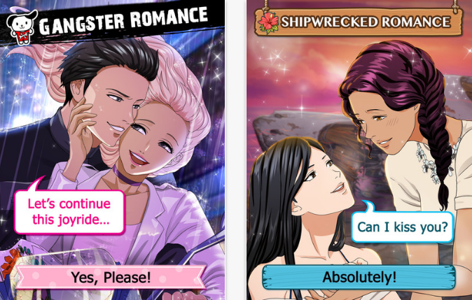 Two screens. Left, a masc looking person and a femme looking person in an embrace. Text reads 'Gangster romance' and 'Let's continue this joyride' and 'Yes, please'. Right, two femme looking people staring lovingly at each other. Text reads 'Shipwrecked romance' and 'Can I kiss you?' and 'Absolutely'.
