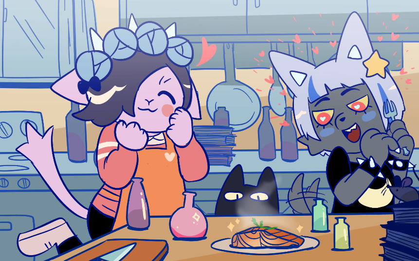 Two cheerful humanoid animals standing in a kitchen preparing food.