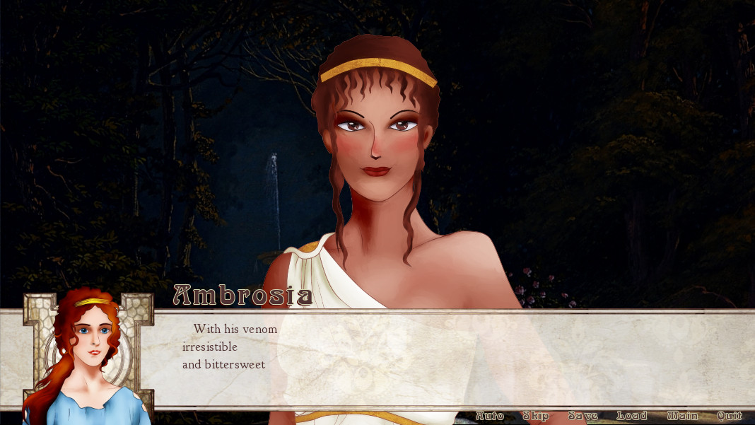 Femme looking woman wearing a toga in a forest. Dialogue reads 'With his venom irresistible and bittersweet'.