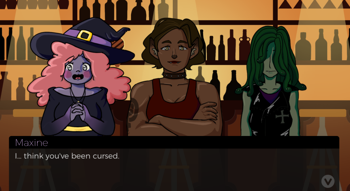A femme looking person in a witch hat, a gender ambiguous person with elf ears, and a gender ambiguous person with snakes for hair standing in front of a bar. Dialogue reads 'I...think you've been cursed.'