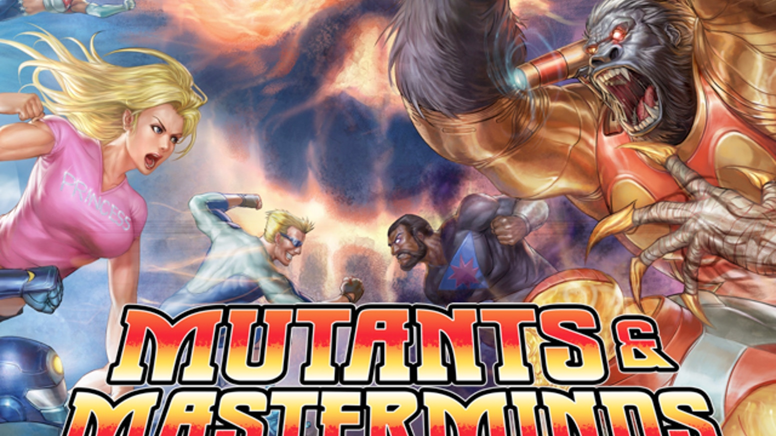 A femme looking person and a masc looking person preparing to punch a giant gorilla and a muscular masc looking person. Text reads 'Mutants and Masterminds'.
