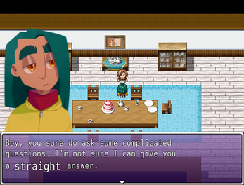 Two figures stand beside a table. A close-up of one of the figures, who is gender-ambiguous, sits to the left of a dialogue box. It reads 'Boy, you sure do ask some complicated questions. I'm not sure I can give you a straight answer.'