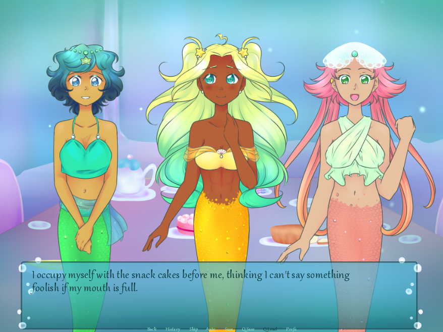 Three feminine figures with fish tails face the camera. A text overlay reads, 'I occupt myself with the snack cakes before me, thinking I can't say something foolish if my mouth is full.'