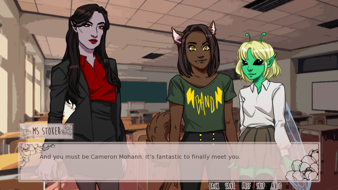 Two feminine figures - one with wolf ears and one with antennae - stand beside a third feminine figure, who is dressed as a teacher. The three gather in a classroom with a text overlay reading, 'Ms Stoker: And you must be Cameron Mohann. It's fantastic to finally meet you.'
