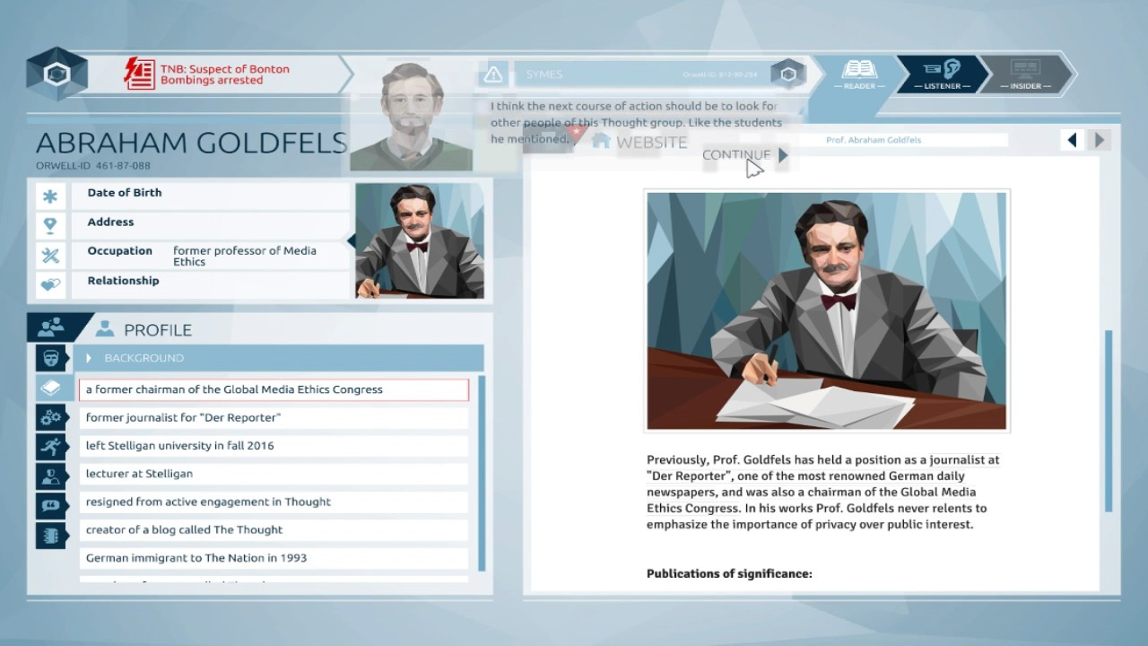 A fictional web browser has a page open about Professor Abraham Goldfels. The page reads, 'Previously, Prof. Goldfels has held a position as a journalist at Der Reporter, one of the most renowed German daily newspapers, and was also a chariman of the Global Media Ethics Congress. In his works, Prof. Goldfels never relents to emphasize the importance of privacy over public interest. Publications of significance'. Other information lists his occupation as 'former professor of media ethics'.