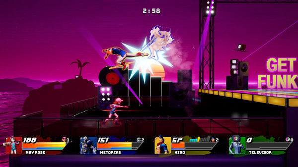 Four figures fight on a rooftop. User interface shows each character's image, name, and health bar. Characters are May Rose, Metorias, Hiro, and Televisor.