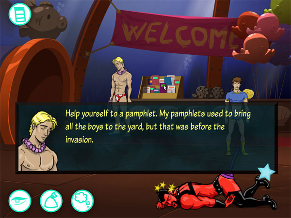 A topless masculine figure stands in the background. A pop up dialogue box shows his face close up. He is saying 'Help yourself to a pamphlet. My pamphlets used to bring all the boys to the yard, but that was before the invasion.'
