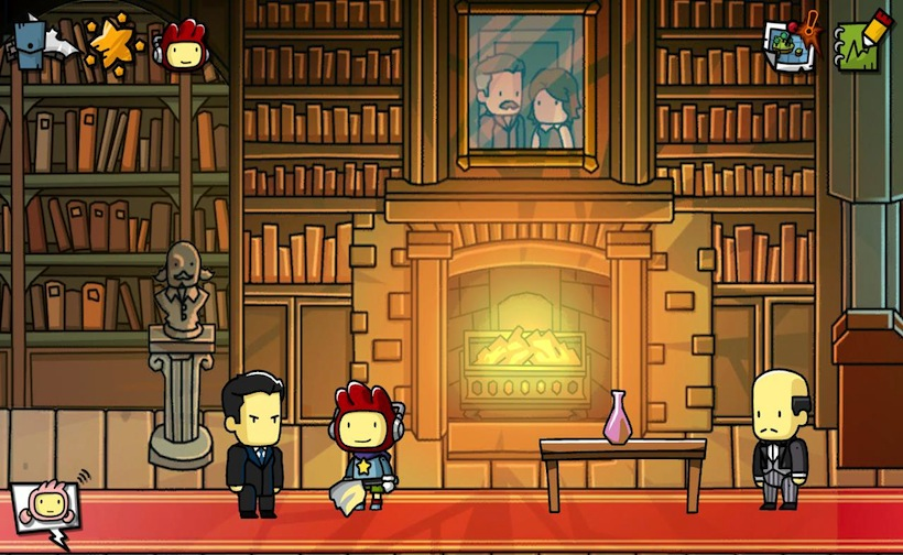 A gender ambiguous character with a strange helmet stands in a library with a fireplace next to two masculine figures in suits.