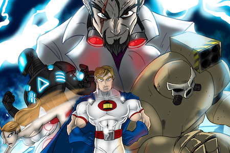 A muscular masc looking person wearing tight clothing and a cape, a femme looking person and two mechanical robots. A masc looking person wearing a suit bears down upon them.