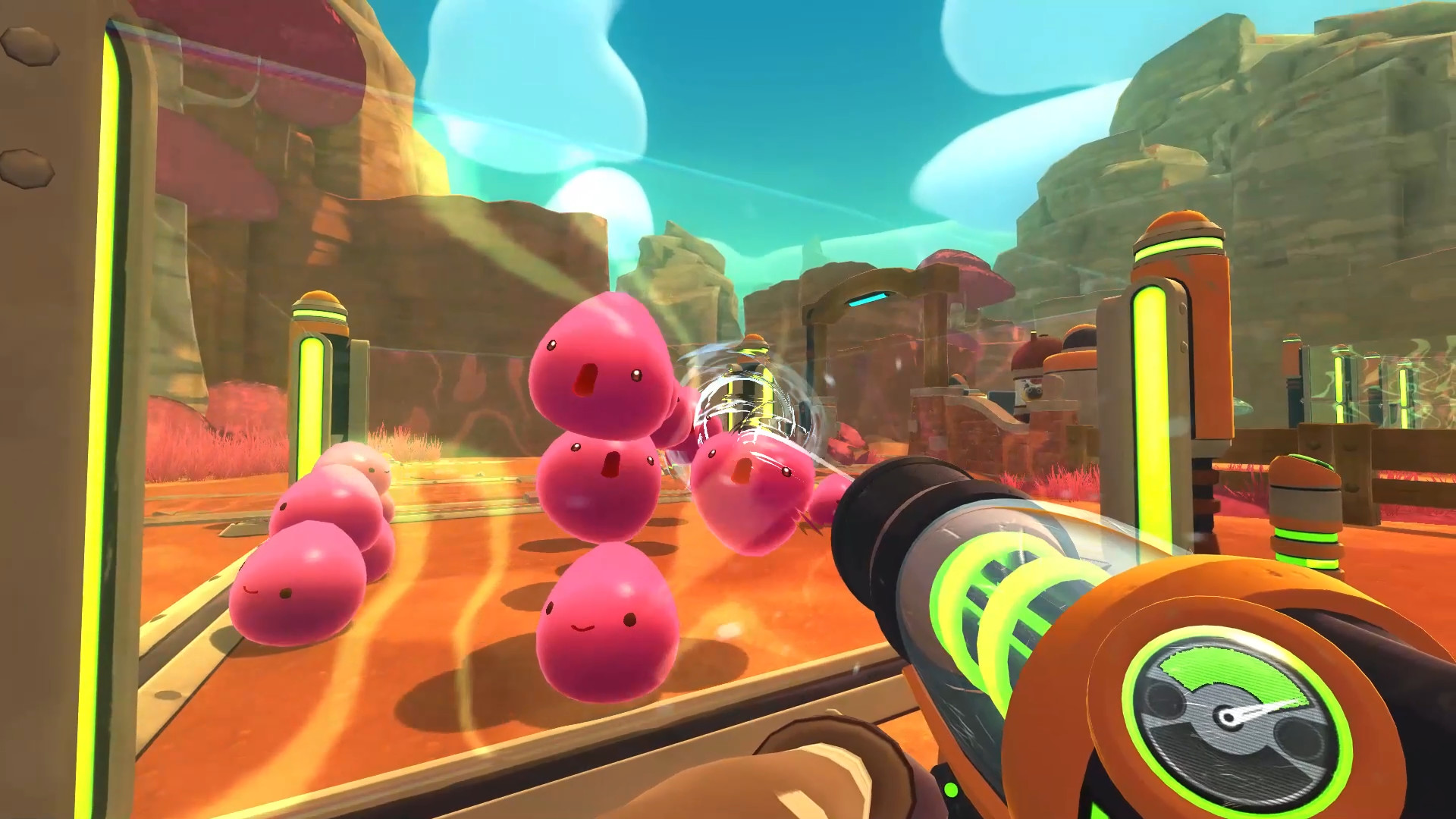 Futuristic gun pointed as a transparent wall of a pen filled with personified pink slimes.