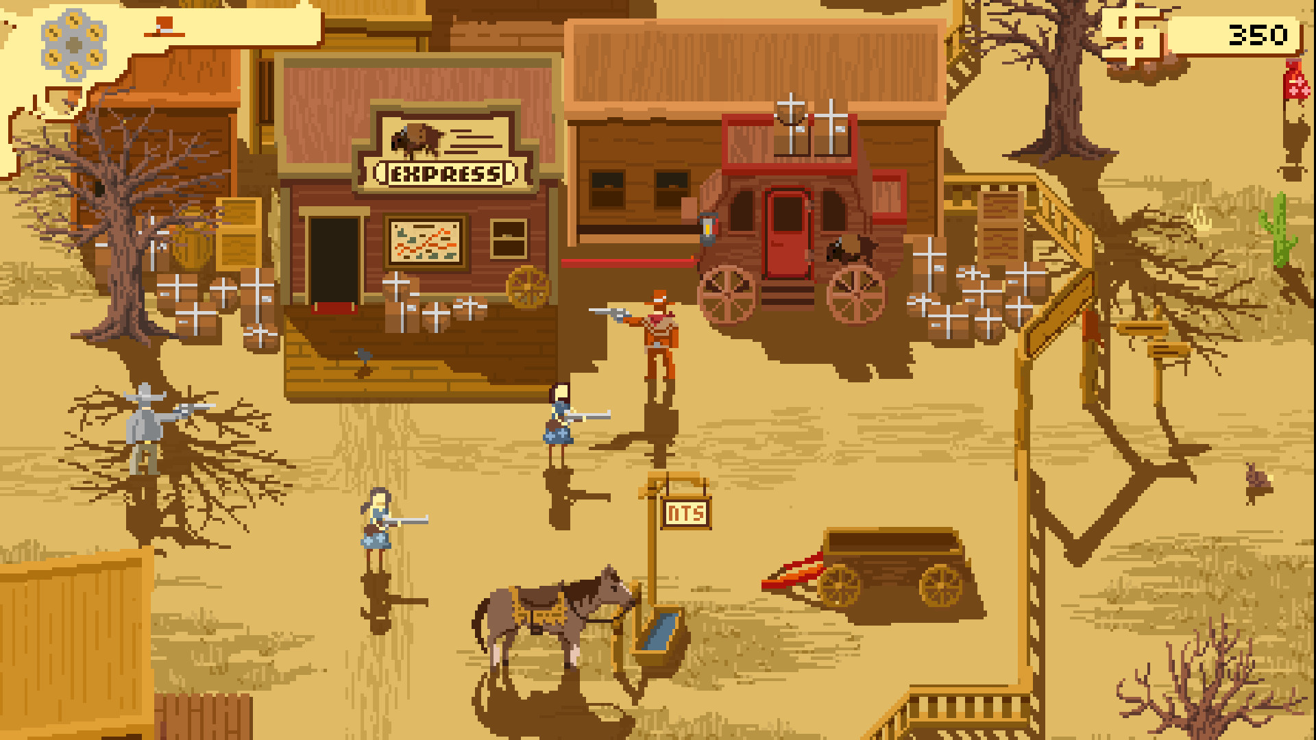 Several small human figures in a western town in the desert.