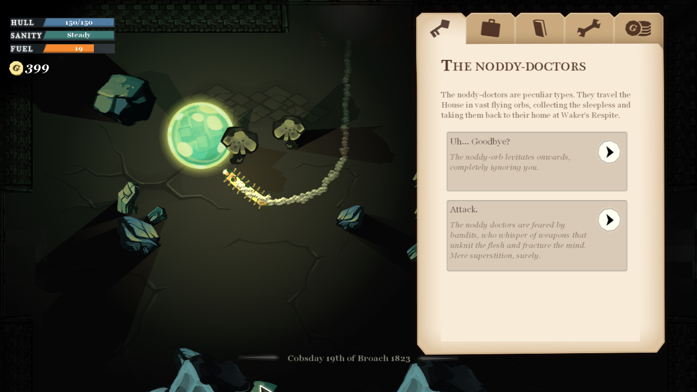 Game menu describes 'The Noddy-Doctors': 'The noddy-doctors are perculiar types. They travel the House in vast flying orbs, collecting the sleepless and taking them back to their home at Waker's Respite.' There are two choices: 'Uh... Goodbye?' and 'Attack'. Behind the menu is a glowing orb, flying near rocks.