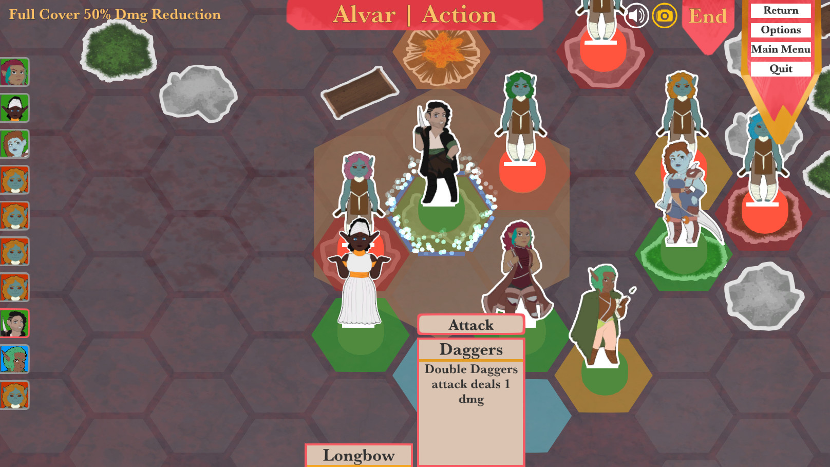 Nine diverse characters stand on a board of hex-shaped tiles, with an attack daggers menu open
