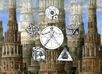 A set of tall stone structures in the background. A pentagram, a naked statue of a man sits on a circle. Five decorated dice surround them.