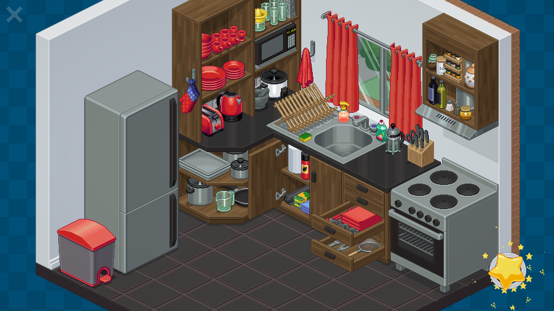 Isometric pixel art kitchen full of appliances and utensils