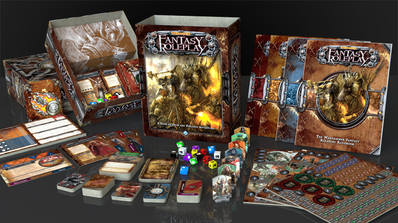 A collection of board game boxes with the name 'Fantasy Roleplay' on all of them.