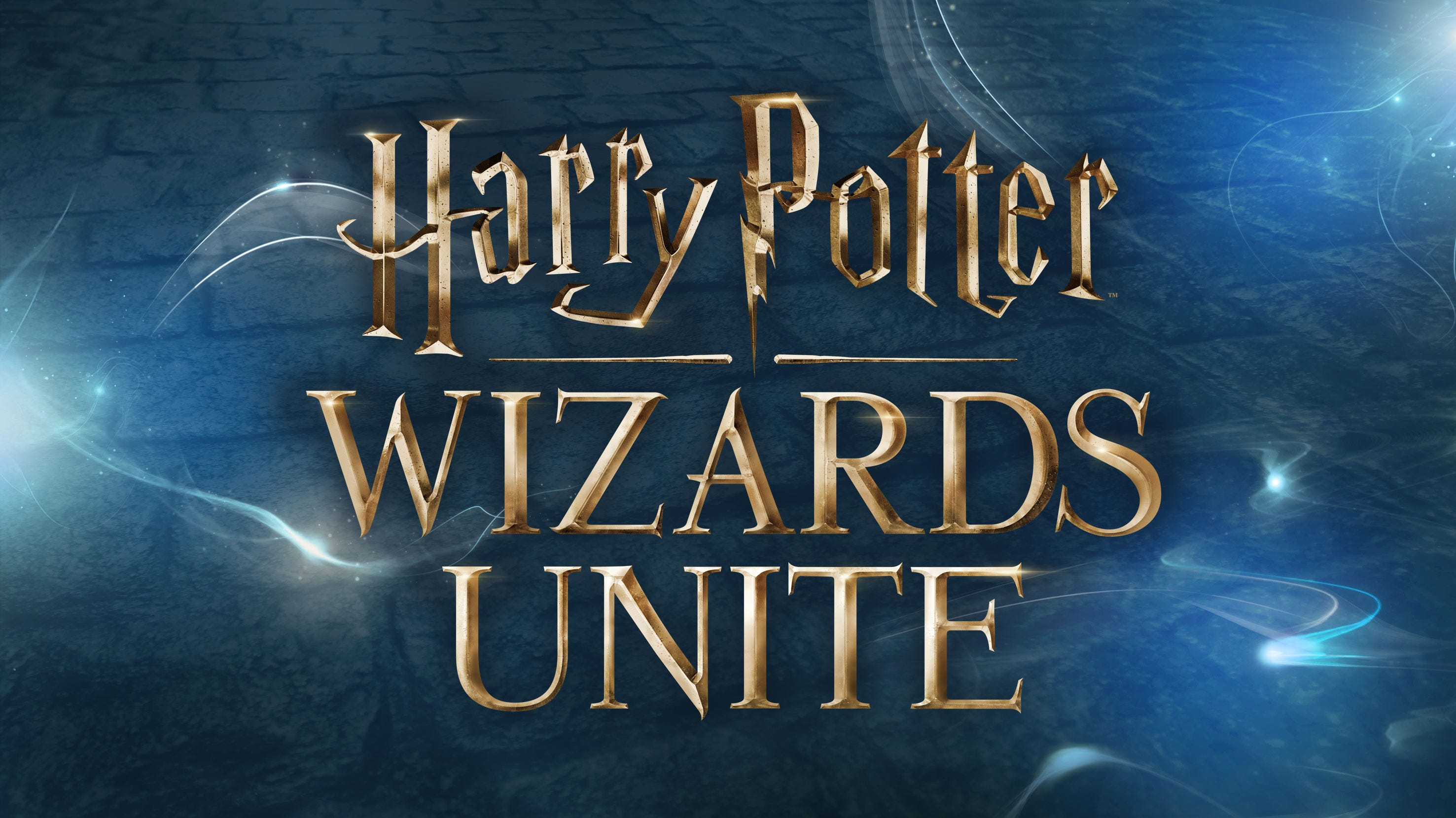 Logo reading 'Harry Potter Wizards Unite' on a stormy cloudy background.
